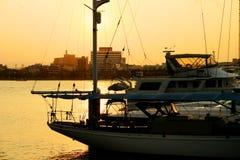 Sunset Yacht Marina Stock Photos