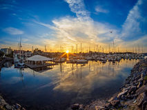 Yachts moored at the marina  at the sunset Stock Photos