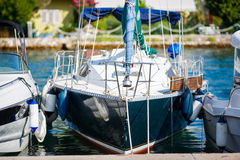 Yachts moored in a marina. Tivat, Montenegro. Royalty Free Stock Images
