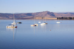 Yachts Moored on the Midmar Dam in the Natal Midlands Stock Photo