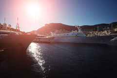 Yachts moored in Monte Carlo royalty free stock images