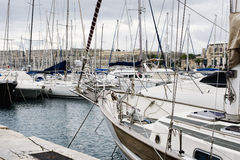 Yachts moored at Msida Marina in Malta. Sail boats in a row on docks at seaside harbor Stock Photography