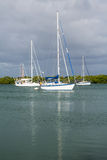 Yachts moored in no name harbor florida Stock Photography
