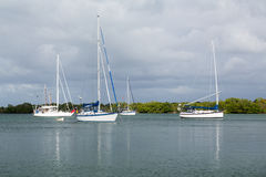 Yachts moored in no name harbor florida Royalty Free Stock Photography