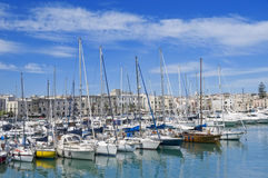 Yachts moored in port. Royalty Free Stock Images