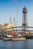 Yachts are moored in Port of Barcelona Royalty Free Stock Image