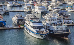 Yachts moored at Port Forum in Barcelona Stock Images