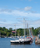 yachts moored in the port on the quay Royalty Free Stock Images