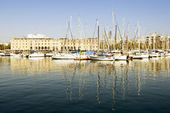 Yachts moored in Port Vell, Barcelona Stock Photo