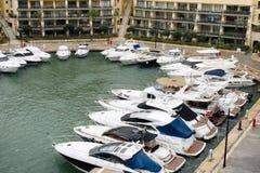 Yachts moored at Portomaso Marina, Malta Stock Images