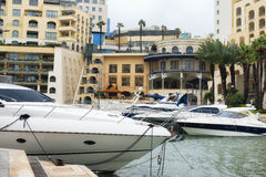 Yachts moored at Portomaso Marina in St. Julian stock photo