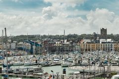 Yachts moored at quay port of Dieppe, France. Concepts of success, leisure, holiday, rich, tourism, luxury, lifestyle Stock Photography