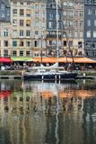 Yachts moored at quay port of Honfleur, France. Concepts of success, leisure, holiday, rich, tourism, luxury, lifestyle Royalty Free Stock Images