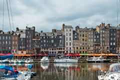 Yachts moored at quay port of Honfleur, France. Concepts of success, leisure, holiday, rich, tourism, luxury, lifestyle Stock Photography
