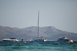 Yachts. Moored in the sea bay stock photography