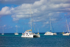 Yachts moored in the shelter of admiralty bay Royalty Free Stock Images
