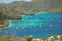 Yachts moored at a sheltered harbor in the windward islands Stock Photography