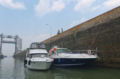Yachts Moored side by side in St. Lambert Lock Royalty Free Stock Photo