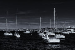 Yachts moored in Sydney Harbour Royalty Free Stock Photos