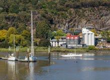 Yachts in the Tamar River, Launceston stock image