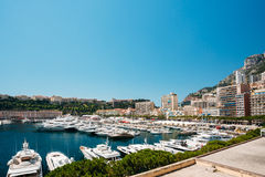 Yachts moored at town quay In Monaco, Monte Carlo Royalty Free Stock Photo