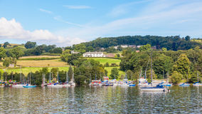 Yachts Moored in Ullswater Royalty Free Stock Photos