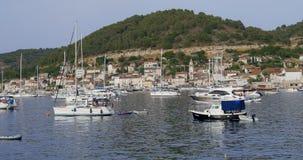 Yachts moored at the Vis marina on the island of the same name, Croatia.