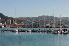 Yachts moored in Wellington port Stock Photos