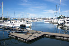 Yachts moored at Wilsons wharf in Durban harbor Royalty Free Stock Images