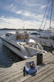 Yachts mooring. Landing stage for yachts in Oslo, Norway Stock Image