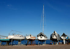 Yachts on a mooring. Yachts prepare for winter parking Royalty Free Stock Images
