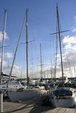 Yachts in mooring. Two yachts moored in marina Stock Photo