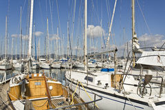 Yachts mooring in the Marina of Saint Tropez. Saint Tropez is a little Provençal town in southern France, famous for its celebrities and yachts Royalty Free Stock Images