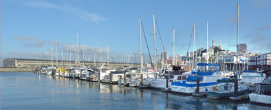 Yachts mooring at Pier 39 Marina in Fishermans Wharf San Francis. SAN FRANCISCO, USA - MAY 17 2015:Yachts mooring at Pier 39 Marina in Fishermans Wharf San Royalty Free Stock Photos