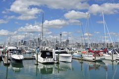 Yachtes mooring in Westhaven Marina against Auckland skyline. Yachts mooring in Westhaven Marina against Auckland skyline.Westhaven Marina, the largest marina in Royalty Free Stock Image