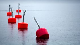 Yachts moorings buoys Royalty Free Stock Images
