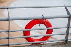 Yachts moorings red buoy of small European marina. Rain. Lake. See Stock Image