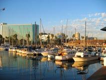 Yachts and Motor Boats docked by Shoreline Village, Rainbow Harbor, Long Beach, California stock photos