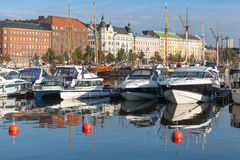 Yachts and motor boats moored in Helsinki, Finland Royalty Free Stock Photography