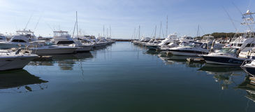 Yachts and motor boats moored at marina. Nelson Ba Royalty Free Stock Photo