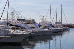 Yachts and motor boats moored at marina. Nelson Bay.  Australia. Royalty Free Stock Photography