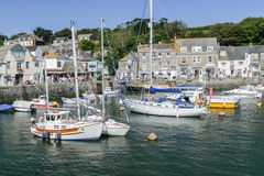 Yachts and motor boats moored in Padstow harbour. Royalty Free Stock Images