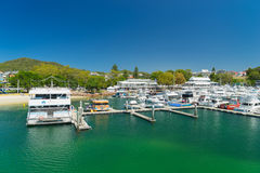 Yachts and motor boats at Port Stephens Stock Photo