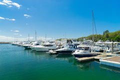 Yachts and motor boats at Port Stephens. Sydney, Australia - February 22, 2017: Yachts and motor boats at Port Stephens, Nelson Bay, Australia Royalty Free Stock Photo