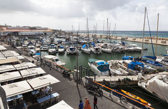 Yachts motorboats and fishing vessels in Old Jaffo Port. Tel Aviv. Israel. Stock Image