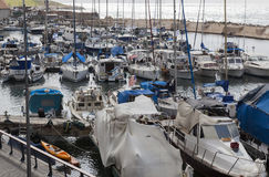 Yachts motorboats and fishing vessels in Old Jaffo Port. Tel Aviv. Israel. Royalty Free Stock Image