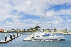Yachts or motorboats in floating marina in Melbourne Royalty Free Stock Photography