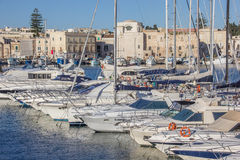 Yachts and motorboats in the port of Trani Royalty Free Stock Photography