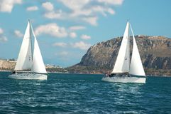 Yachts near the cost Stock Photography