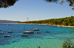 Yachts near Zlatni Rat beach, Brac island, Croatia Stock Photography